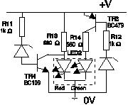 LED battery indicator circuit diagram using dual colour LED