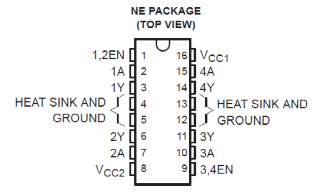 SN754410 H-bridge motor controller IC