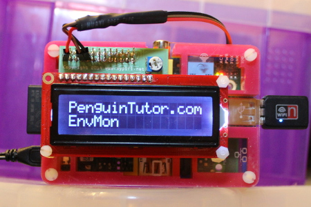 MyPiFi LCD display mounted on a Raspberry Pi installed in a Pimoroni Pibow case