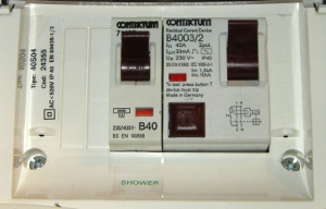 RCD electrical circuit breaker in house wiring MCB box