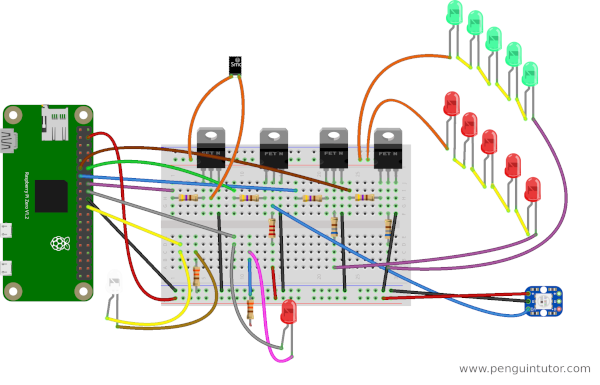 Breadboard wiring diagram for Christmas House with LEDs, NeoPixel and smoke generator