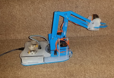 Assembled Mime Industried MeArm Pi robot arm