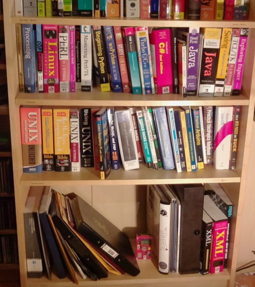 Unix Linux programming and electronics bookshelf - taken with the Raspberry Pi camera