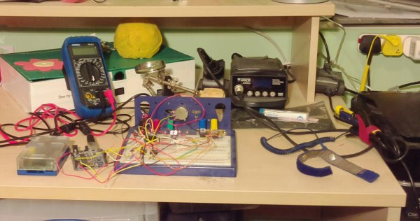 Electronics workbench - photo taken with the Raspberry Pi camera module