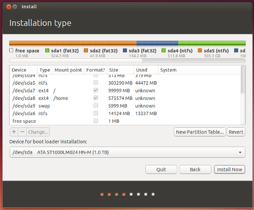 Ubuntu install - Creating new Linux partitions