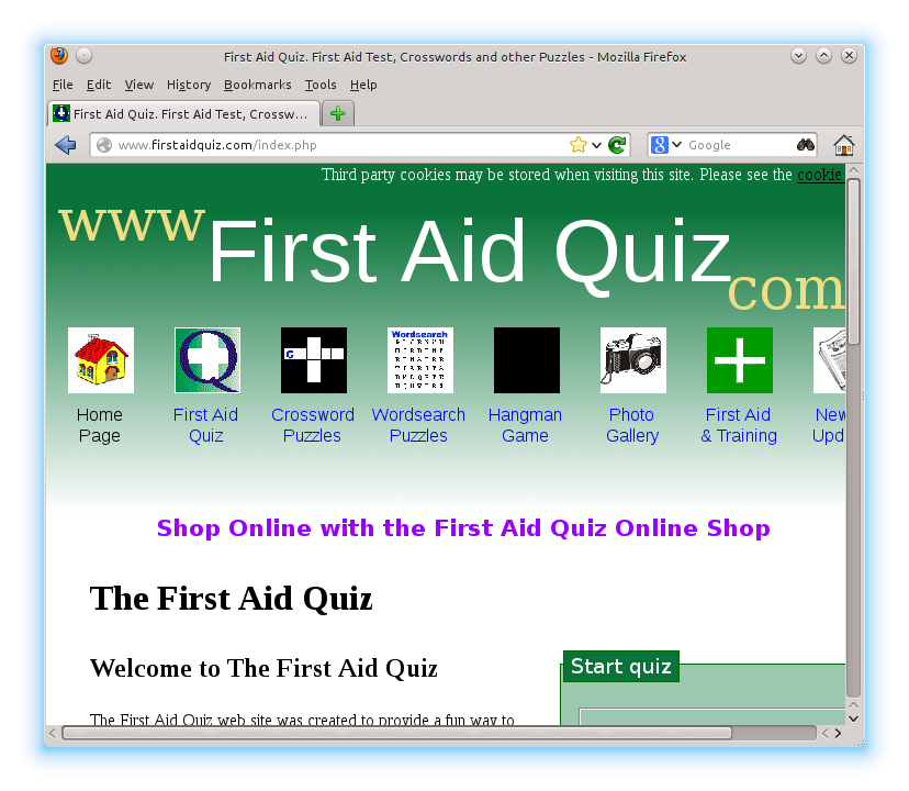First Aid Quiz website accessed through the kidsafe proxy