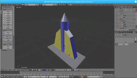 Screen shot 3D model created in Blender on a Raspberry Pi