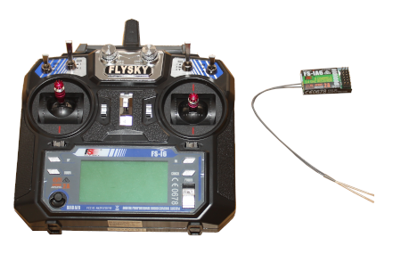 Model airplane RC transmitter and receiver used for a Raspberry Pi Pico