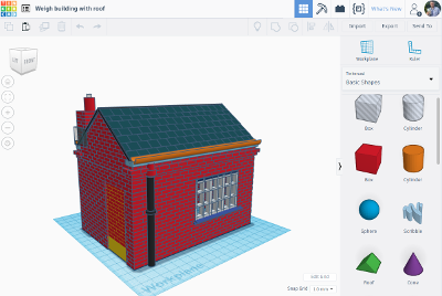 Screenshot of TinkerCAD used to create models for a 3D printer